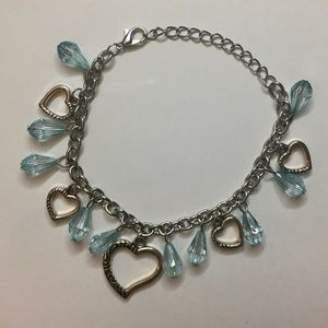 Silver and blue heart charm bracelet